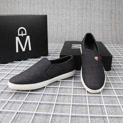 Giày lười vải nam đen đế trắng siêu bền G361 MUIDOI   Giày nam   giày lười nam