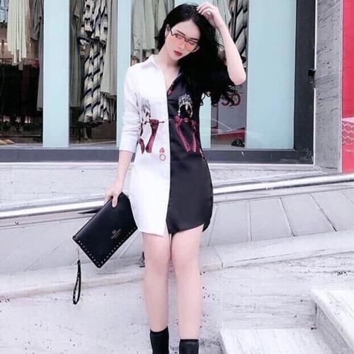 Đầm sơ mi trắng đen siêu hot dvgs001