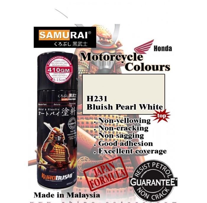 H231 _ Chai Sơn Xịt Sơn Xe Máy Samurai H231 sơn màu trong ánh xanh _ Bluish Pearl White _ shop uy tín, giao nhanh 2