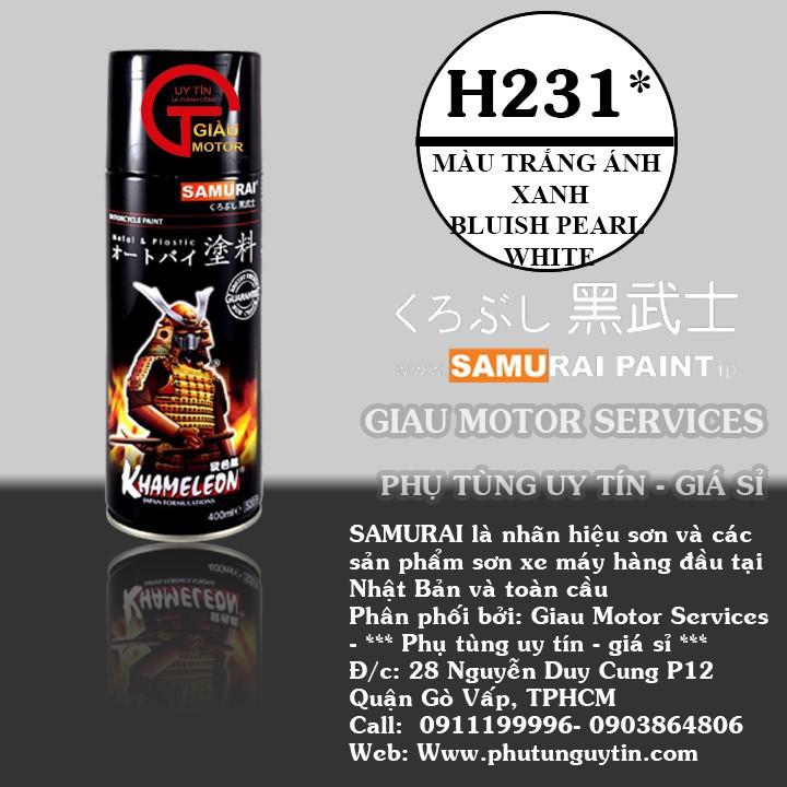 H231 _ Chai Sơn Xịt Sơn Xe Máy Samurai H231 sơn màu trong ánh xanh _ Bluish Pearl White _ shop uy tín, giao nhanh 1