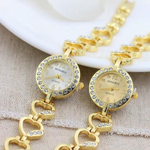 Đồng Hồ Nữ - Đồng Hồ Nữ Lắc Tim Phiêu Bản Siêu Đẹp  Vàng