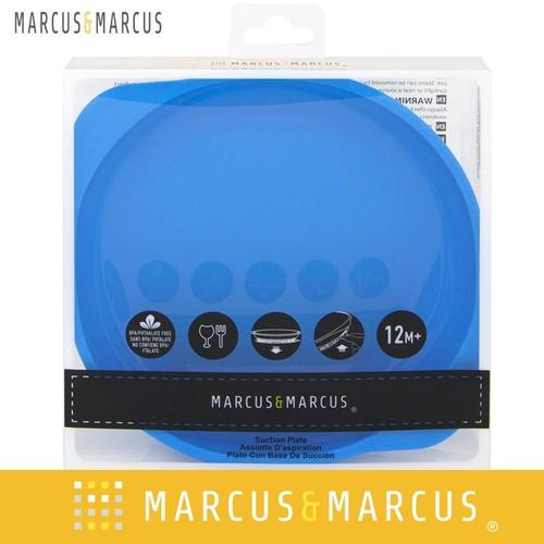 Đĩa ăn dặm silicon có đế hút chân không chống đổ Marcus & Marcus - Lucas-Xanh dương