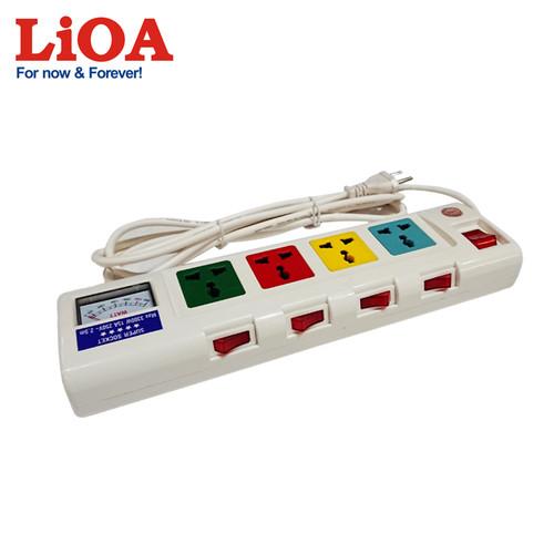 Ổ cắm kéo dài công suất lớn có đồng hồ báo công suất 4 ổ cắm 2 lõi dây LiOA 4OFSSA2.5-2