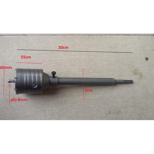 Mũi khoan rút lõi bê tông đường kính mũi 60mm dài 200mm siêu bền-mũi khoan khoét lỗ bê tông phi 60mm