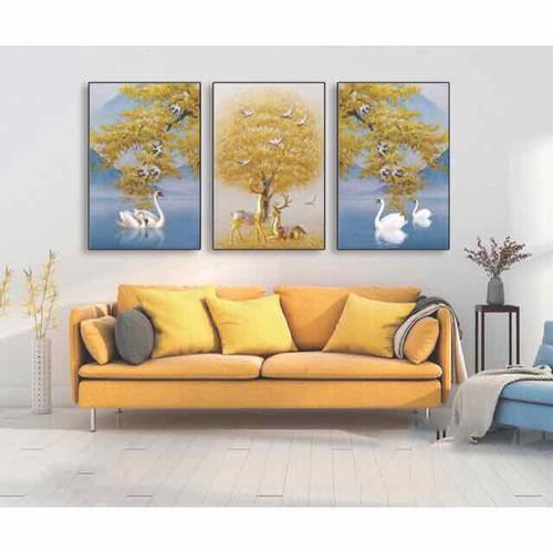 Bộ 3 tranh Canvas Hươu và Thiên nga 50 x 70cm