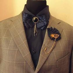 Combo nơ đeo cổ và ghim cài áo vest chú rể – party