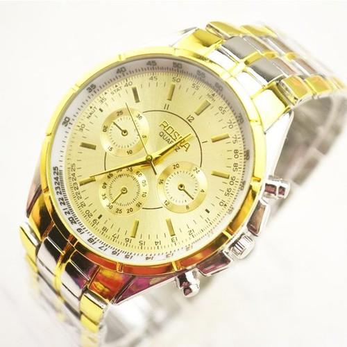 [ NHẬP MÃ GIẢM GIÁ: SALESN ] Đồng hồ nam thời trang vàng sang trọng cao cấp dây thép kim loại chống xước chống nước chính ROSRA