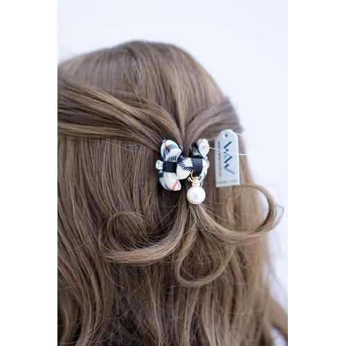 Kẹp tóc handmade, nơ họa tiết caro
