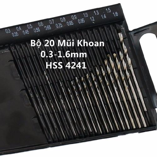Bộ 20 Mũi Khoan 0.3-1.6mm