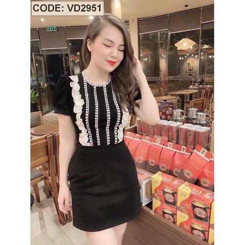 Đầm đen body phối ren bèo VD2951