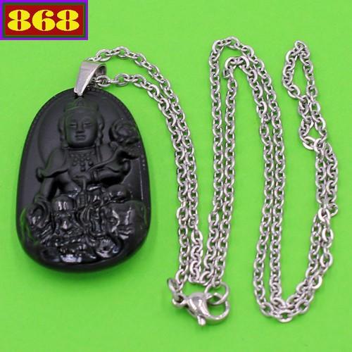 Vòng cổ Phổ hiền thạch anh đen 3.6 cm DITTEB2 - Hộ mệnh tuổi Thìn, Tỵ - Dây đeo inox