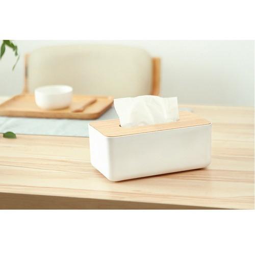 Hộp đựng giấy ăn bằng gỗ nhựa trắng phong cách hàn quốc