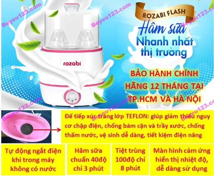 Máy hâm sữa tiệt trùng siêu tốc cao cấp Rozabi Flash 500W HB-055E - Tốt và rẻ so với: Fatzbaby FB3003SL - FB3002SL - FB3012SL, Avent, Babymoov, Kenjo, Kuku, Beurer, Chicco, Farlin, Medela, Dr Brown, Nuk, Gluck