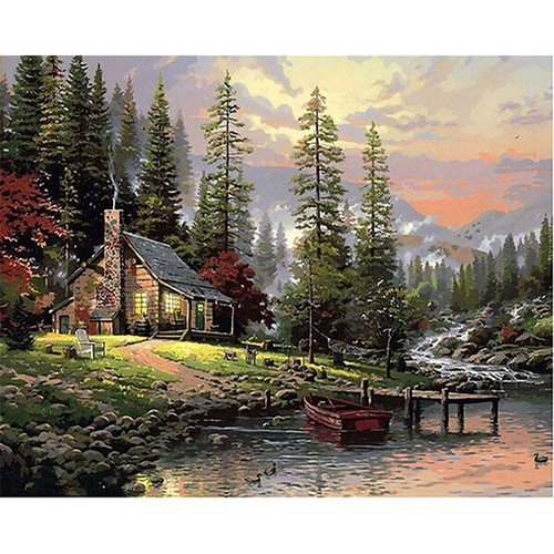 Tranh sơn dầu số hoá ngôi nhà trong rừng thông có khung