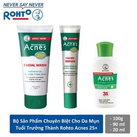 Bộ sản phẩm chuyên biệt cho da mụn tuổi trưởng thành Rohto Acnes 25+ - 1 Sữa rửa mặt AC25 + 1 Soothing Lotion + Serum AC25 - RMV-A-Combo3