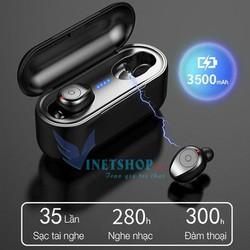 Tai phone bluetooth, tai nghe không dây kiêm dock sạc dự phòng Bluetooth 5.0 chính hãng