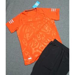 Bộ thể thao cổ tròn vân họa tiết nam màu cam