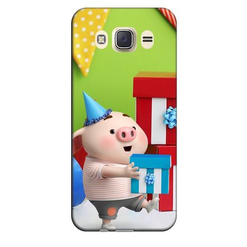 Ốp lưng nhựa cứng nhám dành cho Samsung Galaxy J7 2016 in hình Heo Con Mừng Sinh Nhật