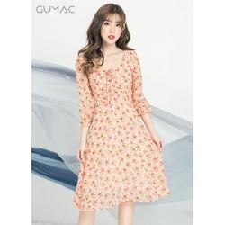 ĐẦM HOA NHÚN NGỰC CAM GUMAC MS04909_CAM