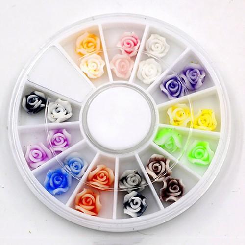 Khay tròn 12 đựng Nails, Trang trí Móng tay Nụ hoa hồng