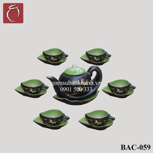 Bộ ấm chén men thủy tinh Đào  cao cấp gốm sứ Bảo Khánh Bát Tràng - bộ bình uống trà cao cấp