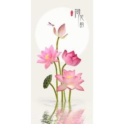Tranh dán tường VTC Hoa sen UD0136B Kim sa KT 50 x 100 cm