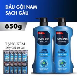Combo 2 Chai Dầu Gội Sạch Gàu Cho Nam Giới Dashing Dynamic Men Shampoo 650gx2 Tặng kèm dây gội 10 gói