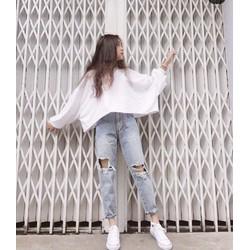 Áo thun nữ croptop tay dài form rộng oversize chất lừ