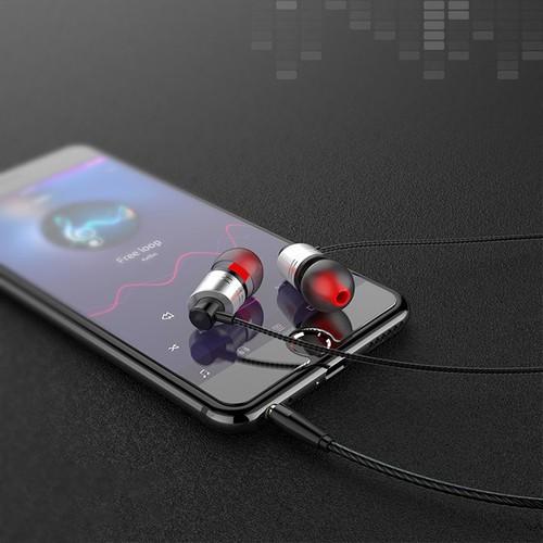 Tai nghe kim loại cao cấp L2 có mic, dây siêu bền, khuyến mãi tặng hộp đựng + nút tai