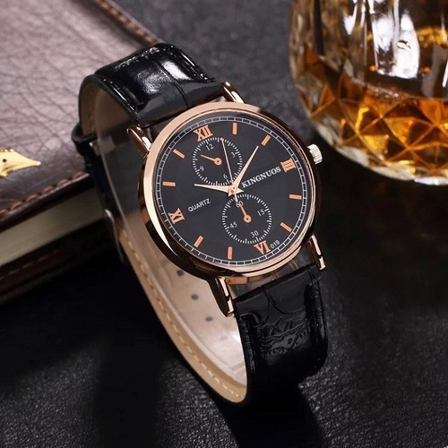 Đồng hồ nam dây da đen Kingnous Binocular cao cấp