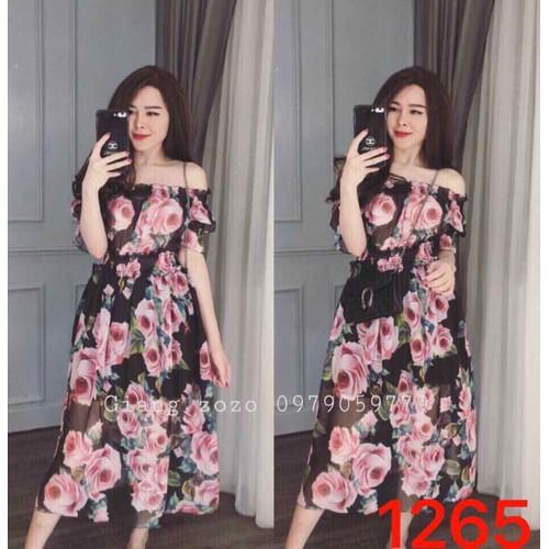 Đầm xoè voan hoa - Free size đến 54kg