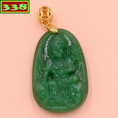 Mặt dây chuyền Phật Phổ hiền thạch anh xanh 3.6 cm MTXA2 - Phật bản mệnh tuổi Thìn, Tỵ