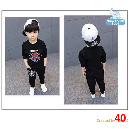 Ms 40 - Bộ quần áo NHỆN CHỮ chất nỉ da cá cho bé từ 6 đến 22kg