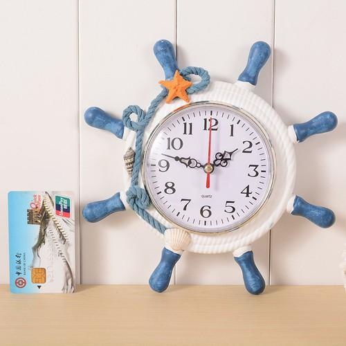 Đồng hồ để bàn hình tay lái tàu chủ đề biển