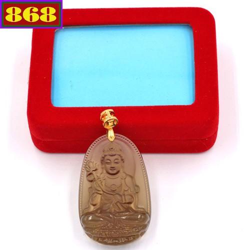 Mặt dây chuyền Phật Đại Thế Chí Bồ Tát - đá Obsidian 5cm MBNN3 - kèm hộp nhung - tuổi Ngọ