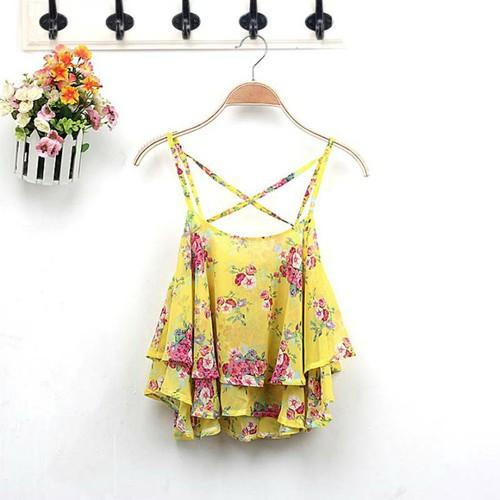 áo crop top 2 dây hoa Mã: AH245 - VÀNG