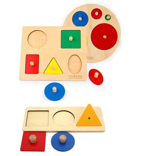 Bộ 3 bảng núm hình học giáo cụ Montessori