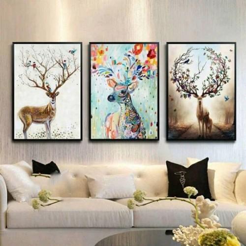 Bộ 3 tranh Canvas Hươu tuần lộc 50 x 70cm