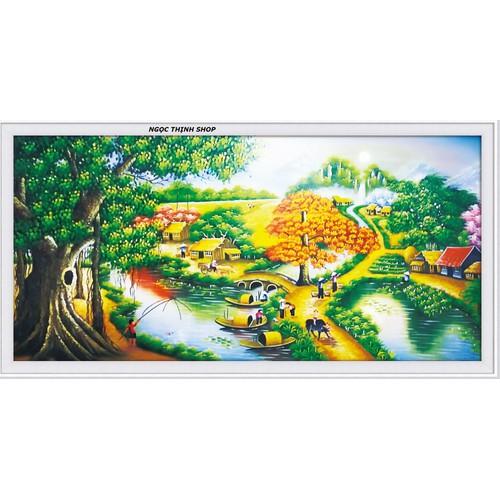 Tranh thêu chữ thập Làng Quê Yên Bình 88904 - KT:76x41cm