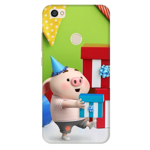 Ốp lưng nhựa cứng nhám dành cho Xiaomi Redmi Note 5A in hình Heo Con Mừng Sinh Nhật