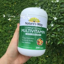 VITAMIN TỔNG HỢP VÀ TẢO BIỂN NATURE'S WAY MULTIVITAMIN -SPIRULINA 200 VIÊN CỦA ÚC
