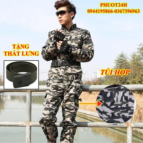Bộ quần áo LÍNH MỸ Rằn Ri Túi Hộp [Tặng Thắt Lưng Lính]