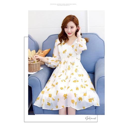 Váy bầu đầm bầu  voan hoa vàng