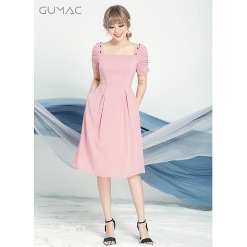 ĐẦM CỔ U TAY PHỒNG GUMAC MS04949_HONG
