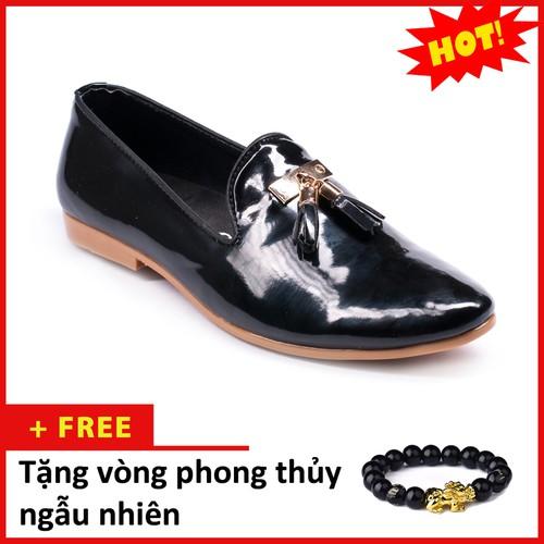 Giày Lười Nam Đẹp Đế Khâu Chuông Vàng Da Bóng Màu Đen Phong Cách Hàn Quốc - M124-BONG|040419