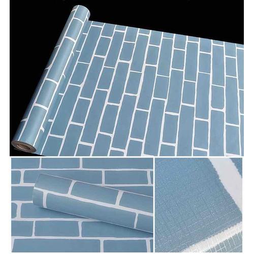 10 m giấy dán tường giả gạch xanh keo sãn khổ 45 cm