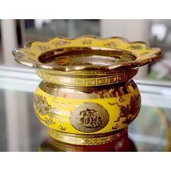 Lư hương thờ cúng rồng vàng 3D-có khay hứng tàn nhang cao 8cm