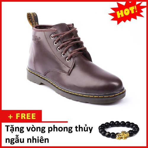 Giày Boot Nam Cổ Lửng Đế Khâu Da Trơn Màu Nâu Phong Cách - M354-NAU|040419