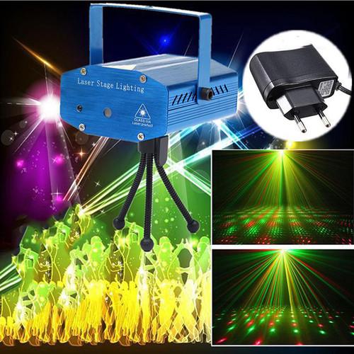 Đèn Chiếu Laser Vũ Trường Cảm Biến Âm Thanh- Đèn Chiếu Sao Trang Trí Mini Laser Stage Lighting- Đèn chiếu Laze mini trang trí sân khấu, vũ trường, quán caffe, nhà hàng