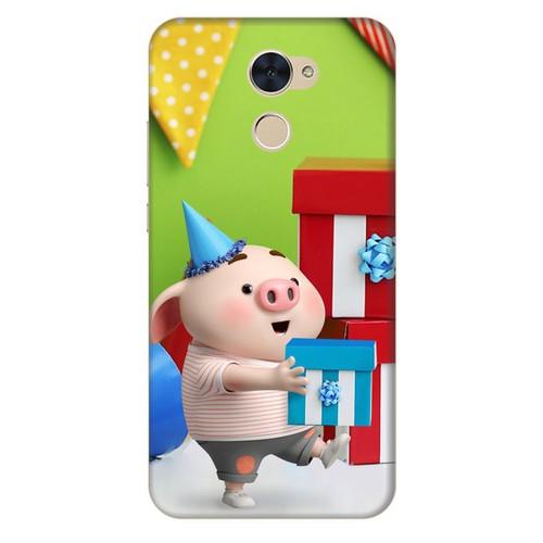 Ốp lưng nhựa cứng nhám dành cho Huawei Y7 Prime in hình Heo Con Mừng Sinh Nhật